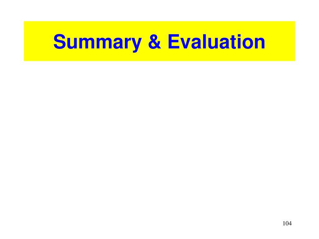 Summary & Evaluation