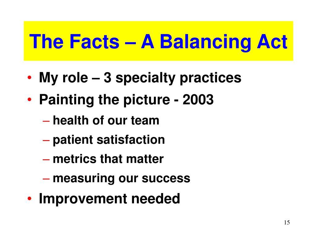 The Facts – A Balancing Act
