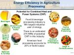 energy efficiency in agriculture processing