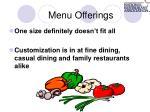 menu offerings