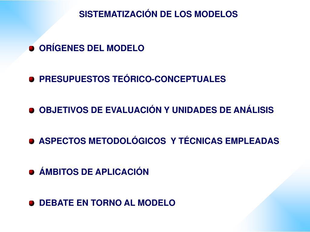SISTEMATIZACIÓN DE LOS MODELOS