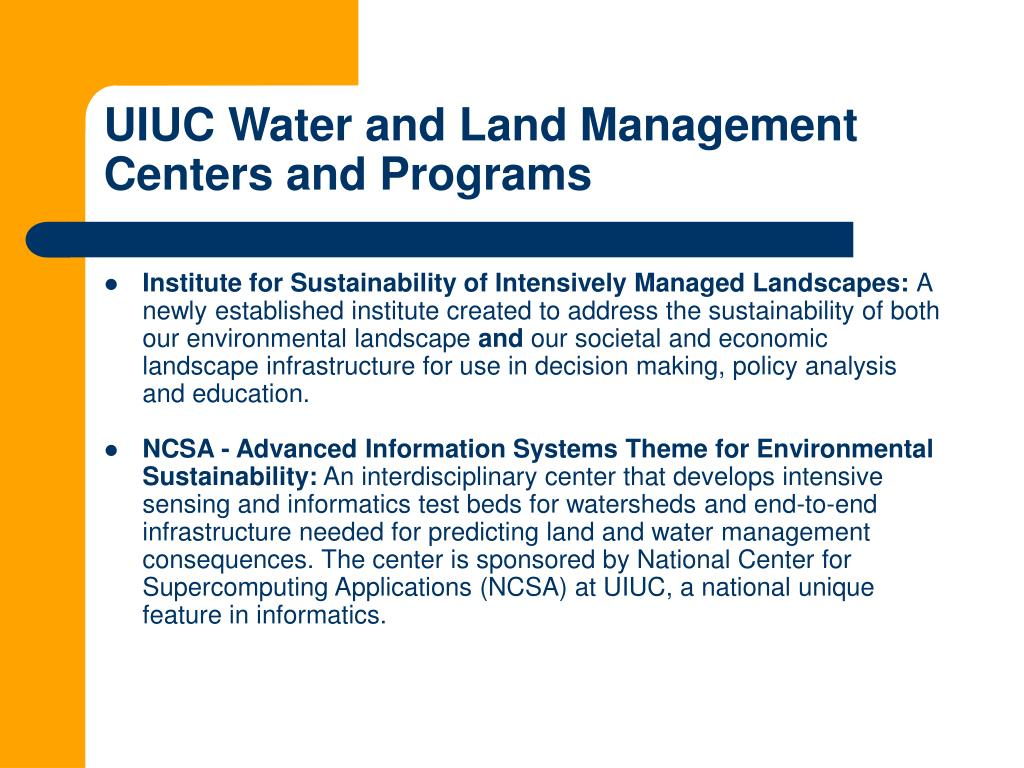 UIUC Water and Land Management Centers and Programs