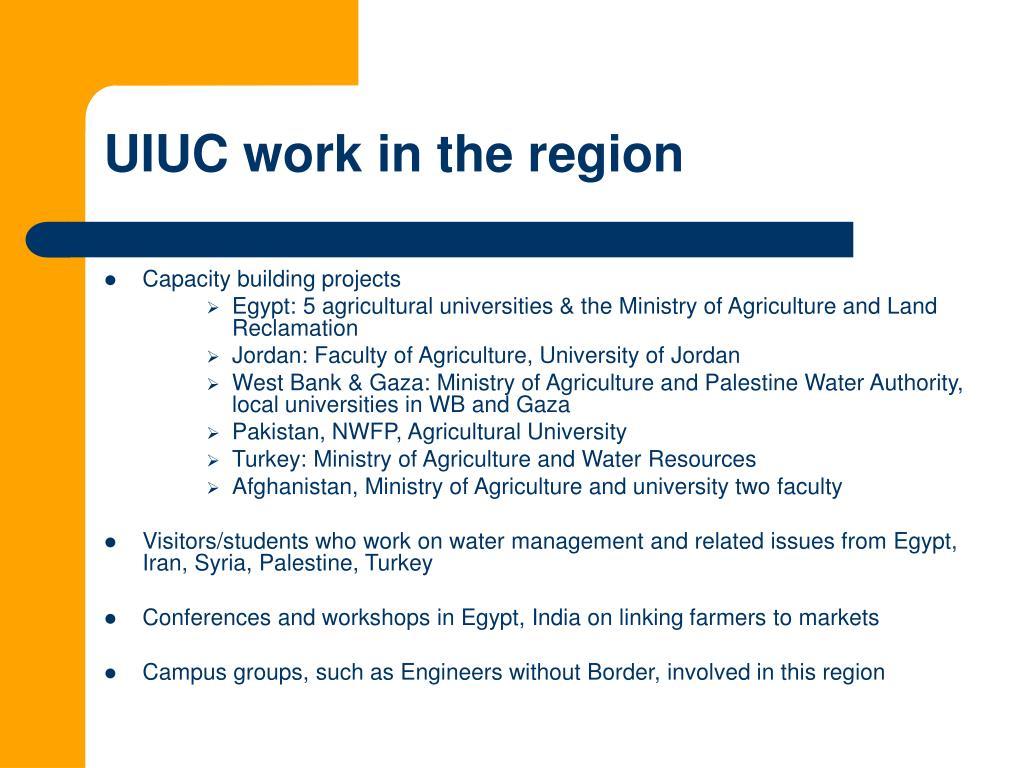 UIUC work in the region