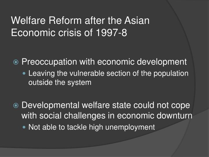the asian economic crisis The east asian financial crisis is remarkable in several ways large economic losses (premature suspension of investment projects, liqui- the asian crisis is a reflection of excessive gambling and indeed stealing.