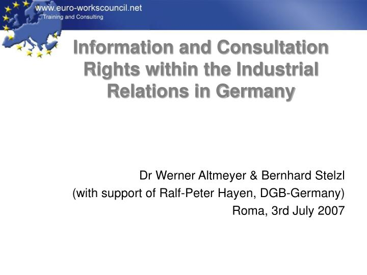 information and consultation rights within the industrial relations in germany n.