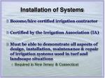 installation of systems