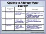 options to address water scarcity