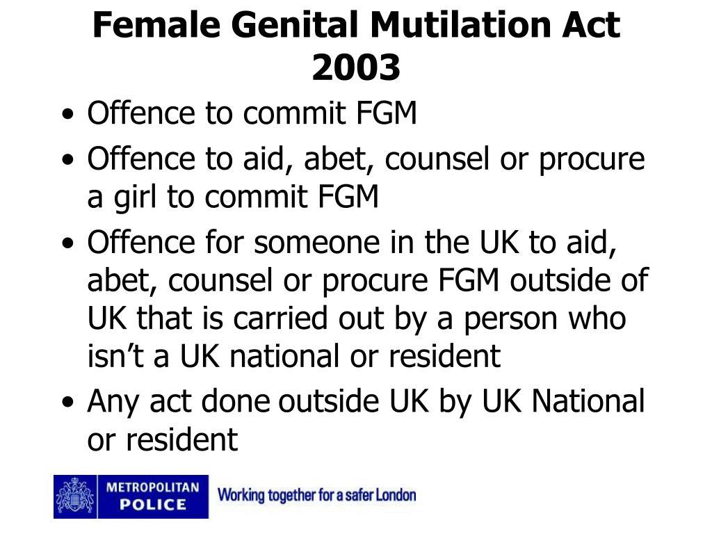 Female Genital Mutilation Act 2003