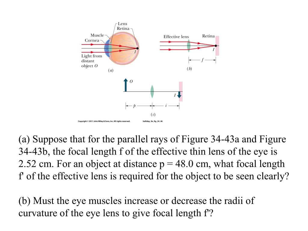(a) Suppose that for the parallel rays of Figure 34-43a and Figure 34-43b, the focal length f of the effective thin lens of the eye is 2.52 cm. For an object at distance p = 48.0 cm, what focal length f' of the effective lens is required for the object to be seen clearly?