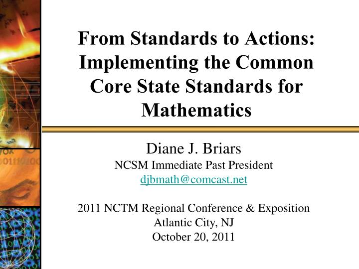 from standards to actions implementing the common core state standards for mathematics n.