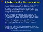 i indications for pharmacotherapy
