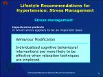 lifestyle recommendations for hypertension stress management