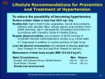 lifestyle recommendations for prevention and treatment of hypertension