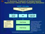 v summary treatment of isolated systolic hypertension without other compelling indications
