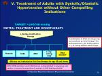 v treatment of adults with systolic diastolic hypertension without other compelling indications