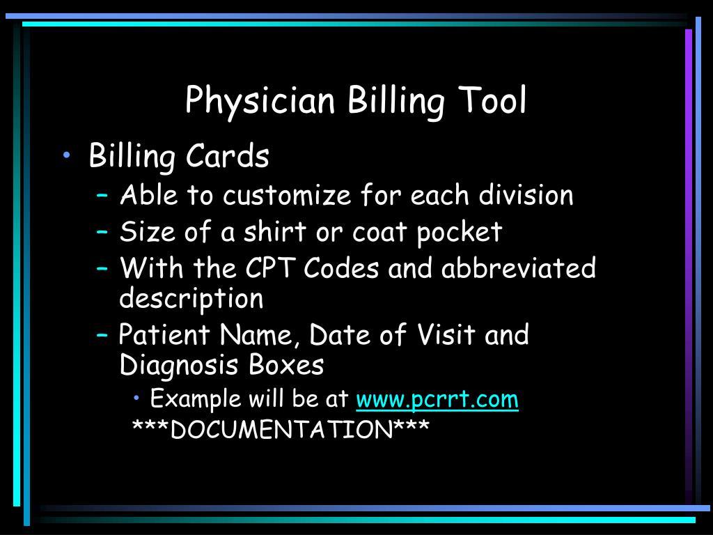 Physician Billing Tool