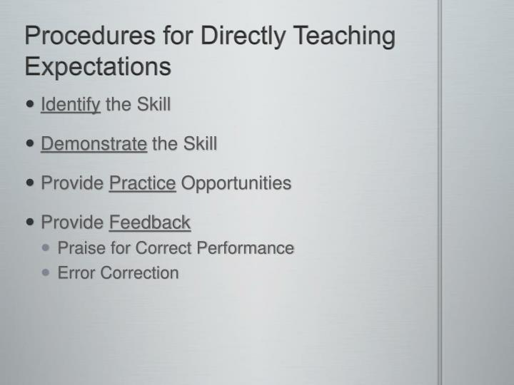 Procedures for Directly Teaching Expectations