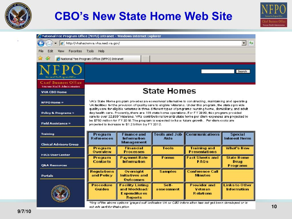 CBO's New State Home Web Site