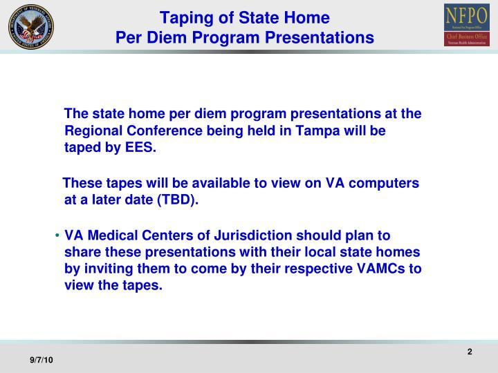 Taping of state home per diem program presentations