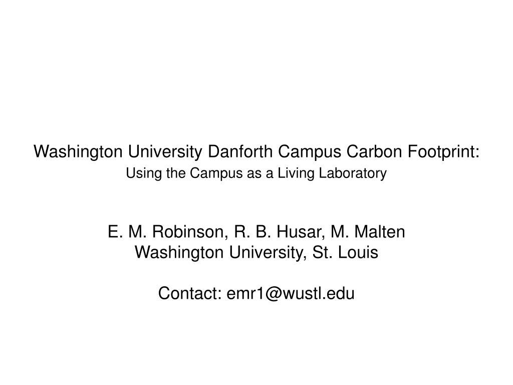 Washington University Danforth Campus Carbon Footprint: