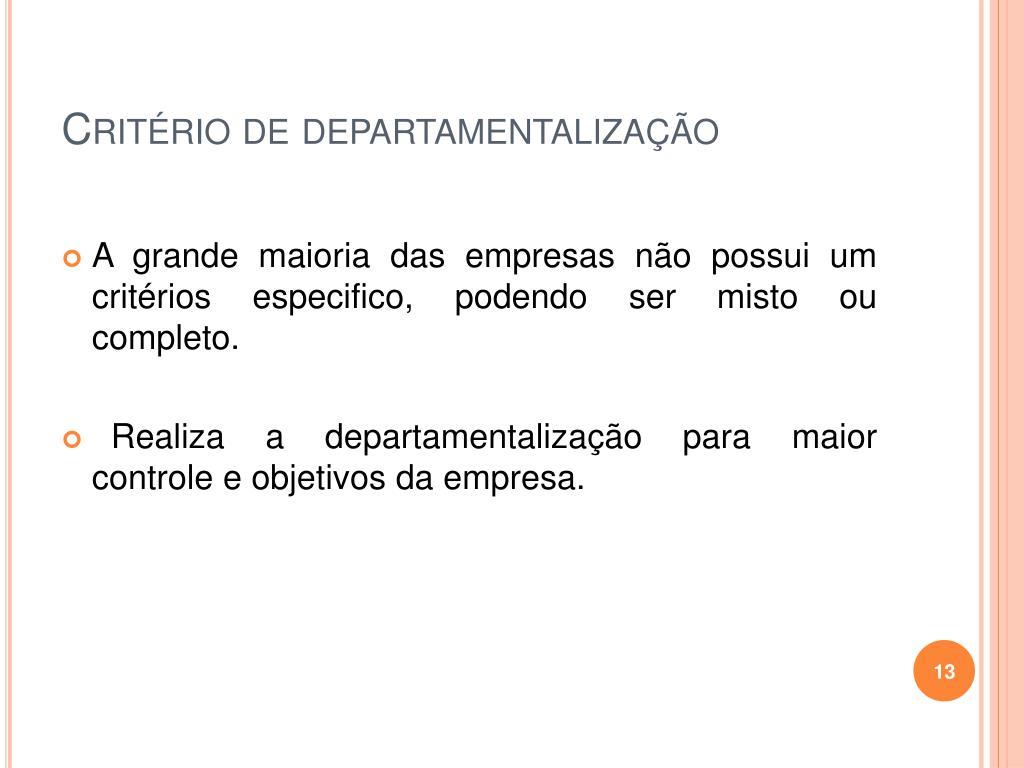 Critério de departamentalização