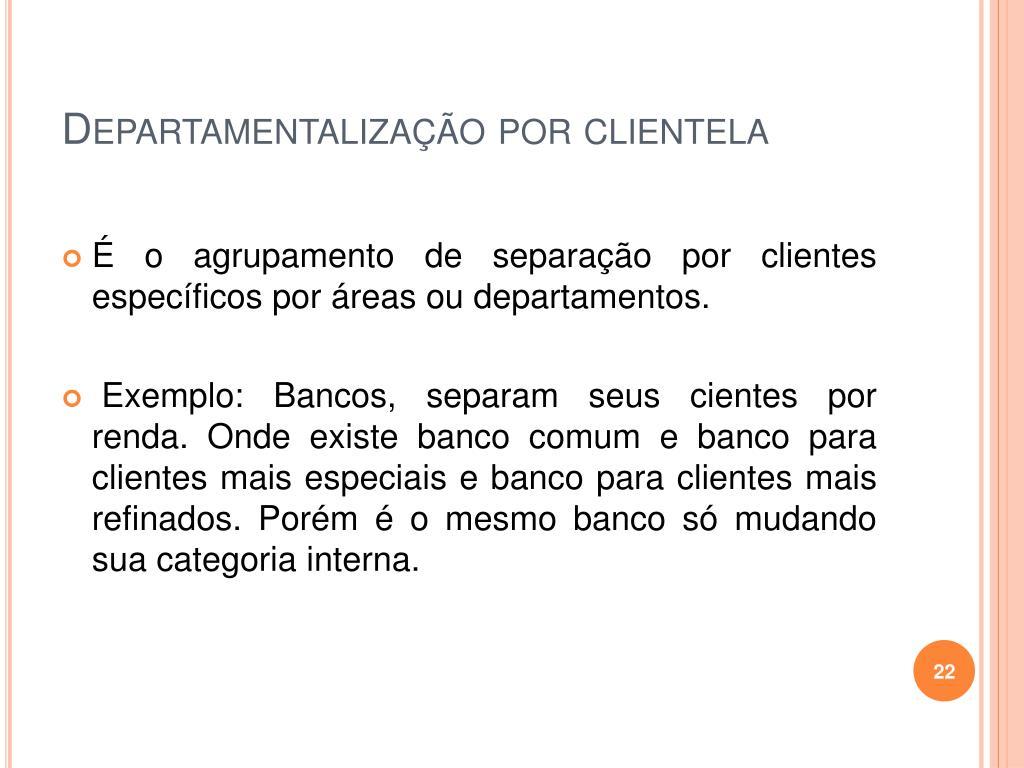 Departamentalização por clientela