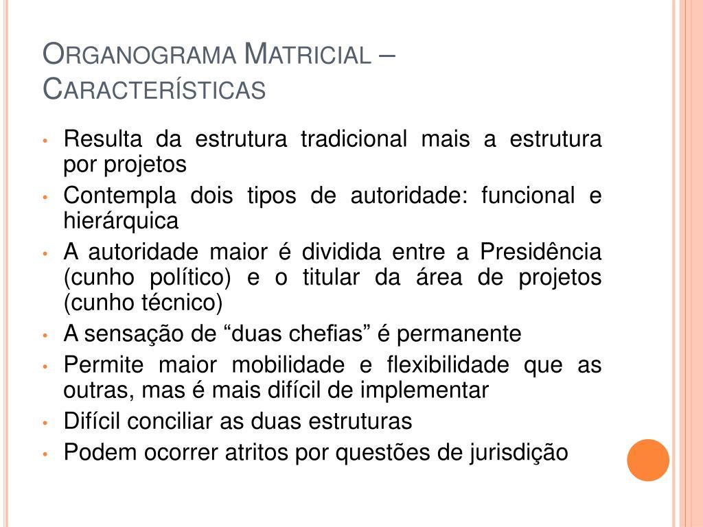 Organograma Matricial – Características
