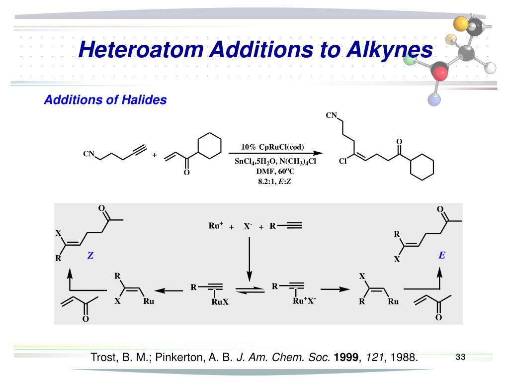 Heteroatom Additions to Alkynes