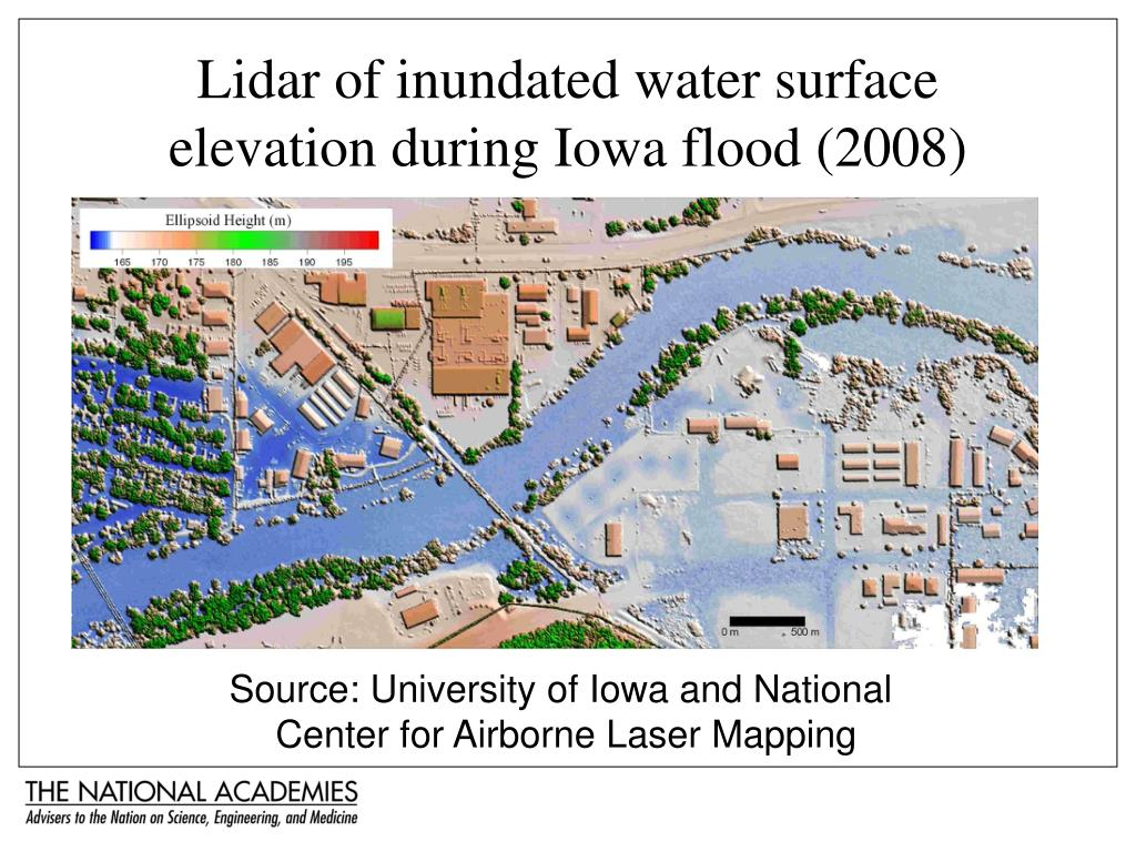 Lidar of inundated water surface elevation during Iowa flood (2008)