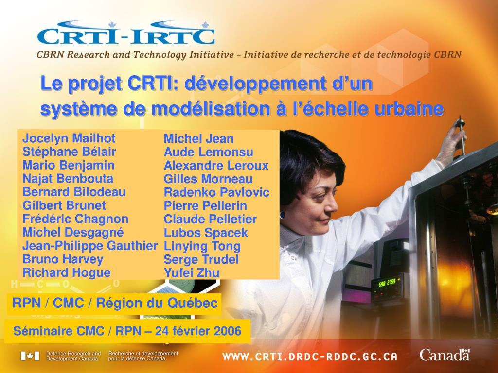 Le projet CRTI: d