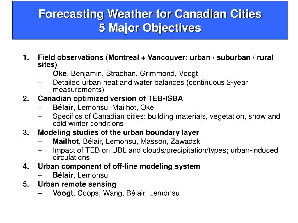 Forecasting Weather for Canadian Cities
