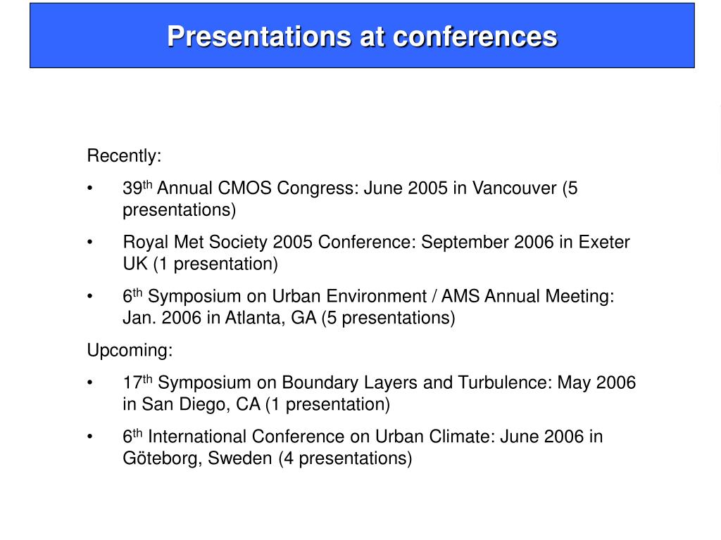 Presentations at conferences