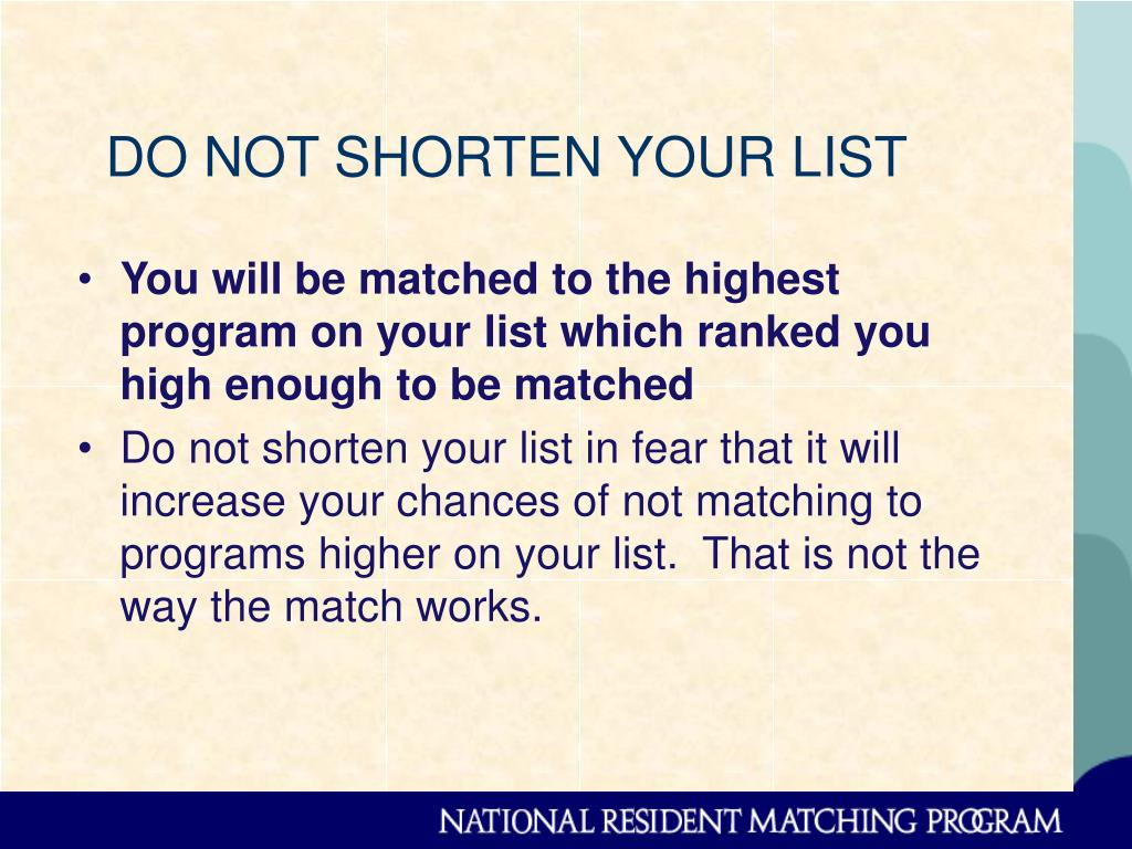 DO NOT SHORTEN YOUR LIST