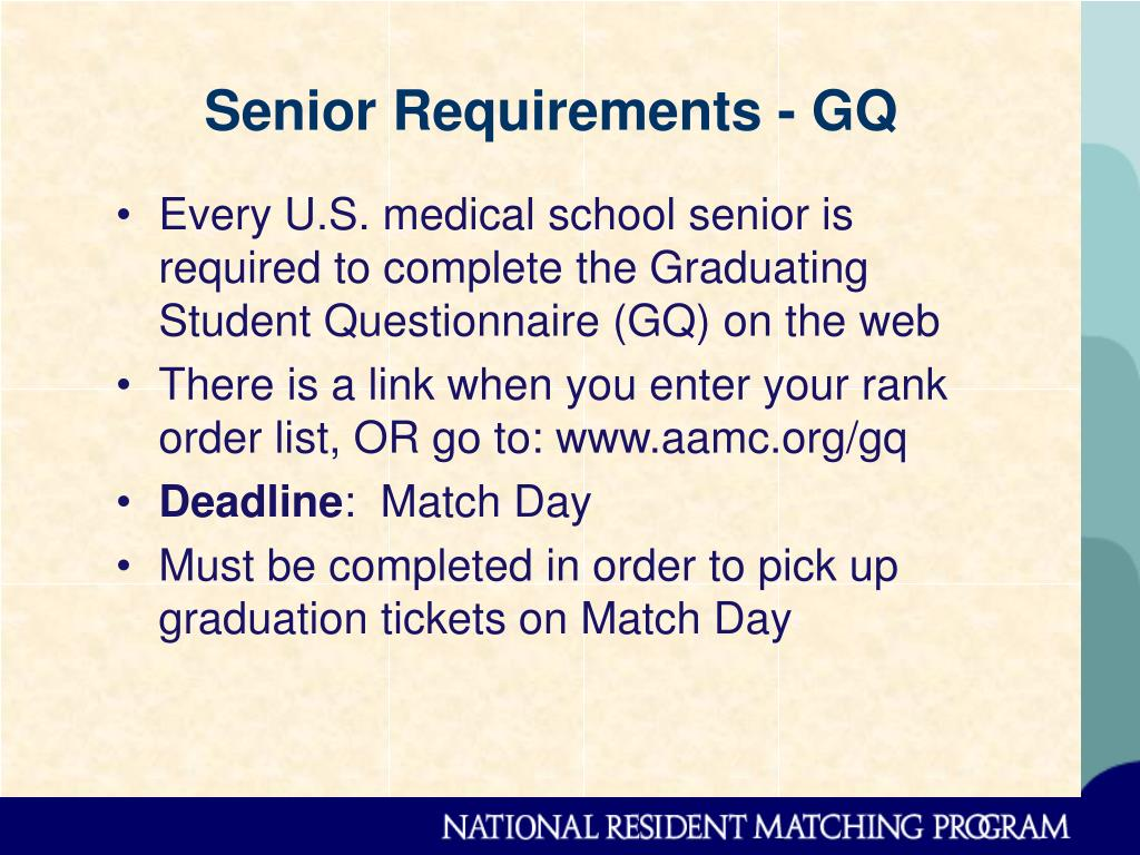 Senior Requirements - GQ