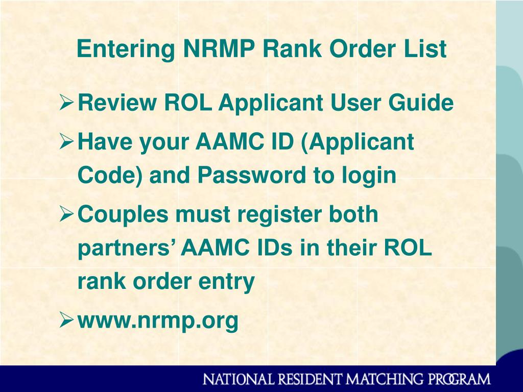 Entering NRMP Rank Order List