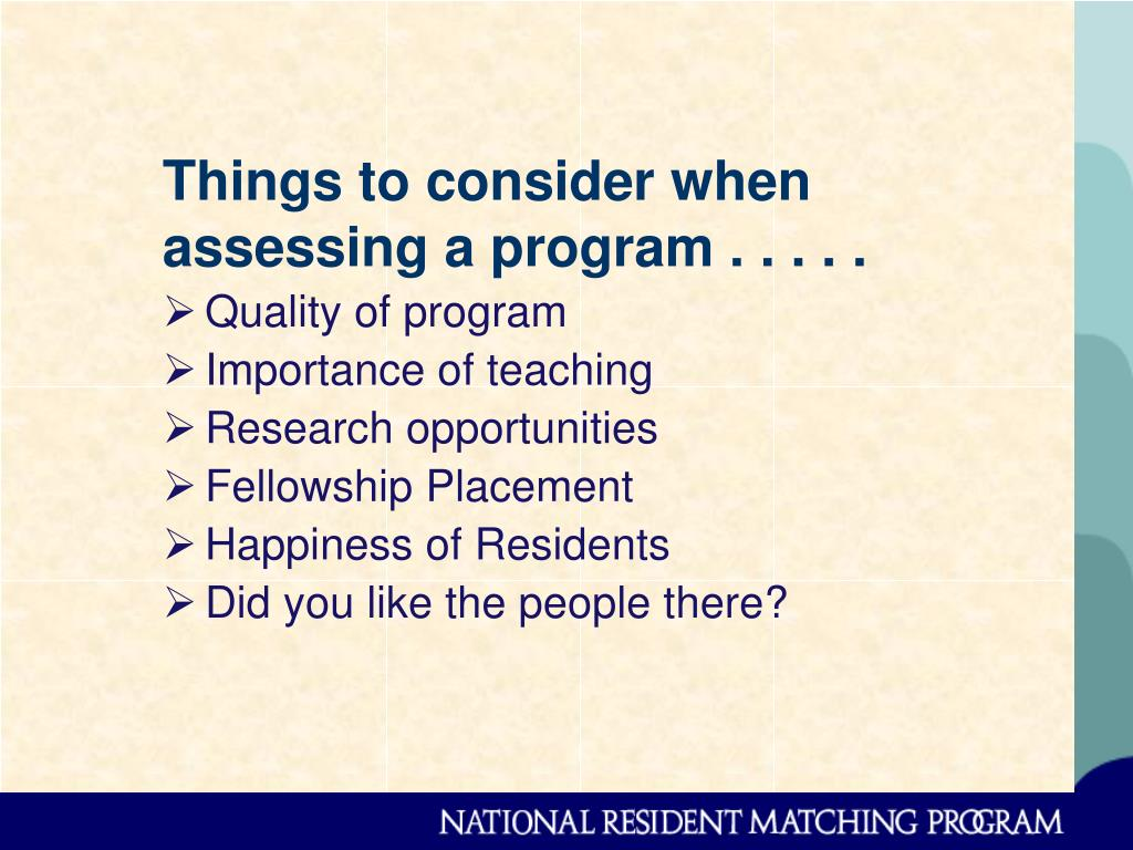 Things to consider when assessing a program . . . . .