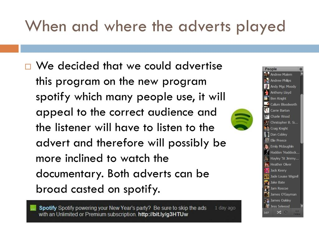 When and where the adverts played
