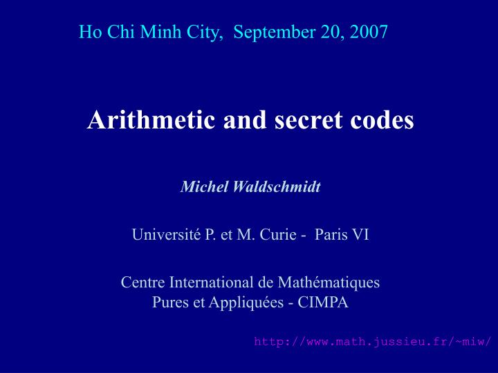 arithmetic and secret codes n.