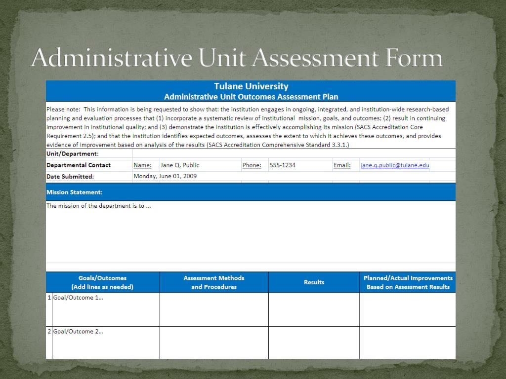Administrative Unit Assessment Form