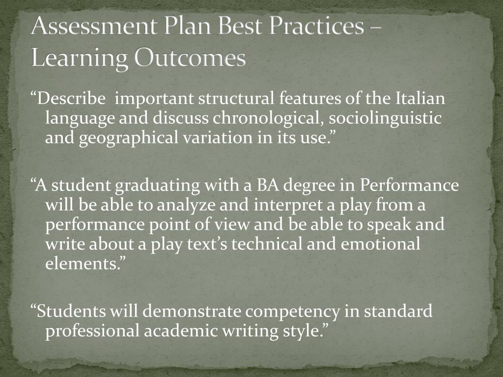 Assessment Plan Best Practices – Learning Outcomes