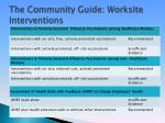the community guide worksite interventions