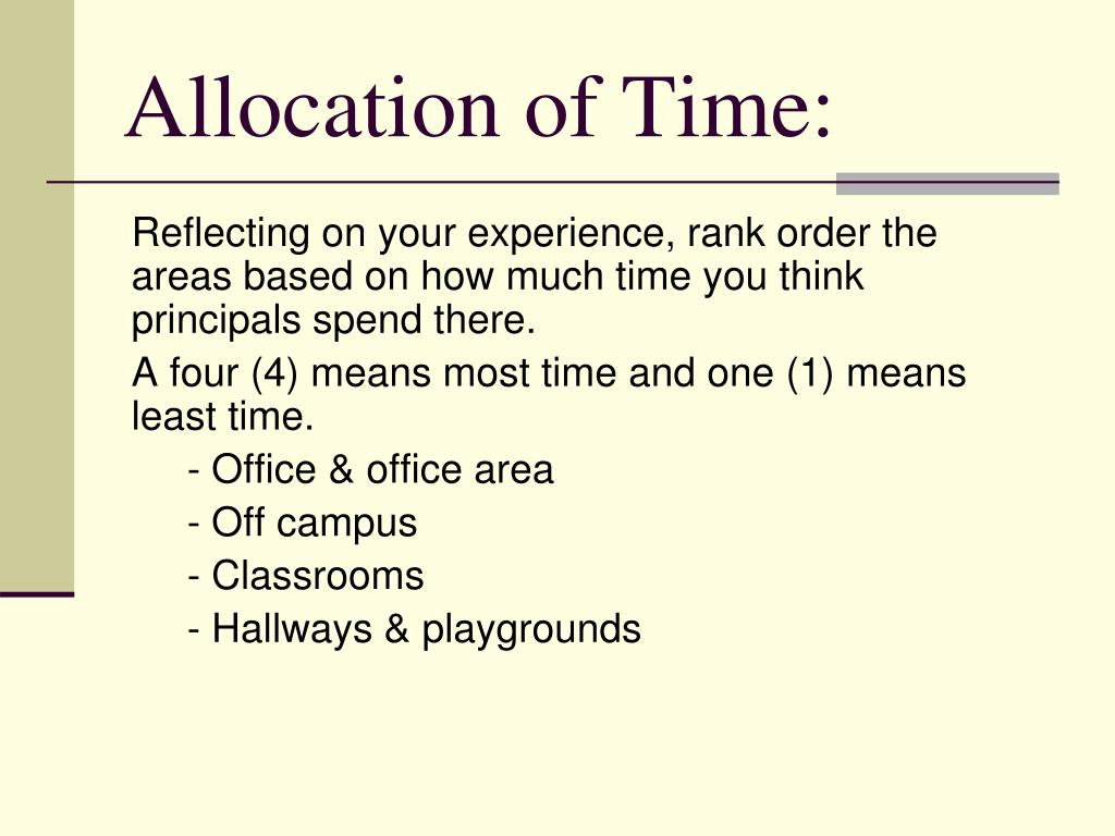 Allocation of Time: