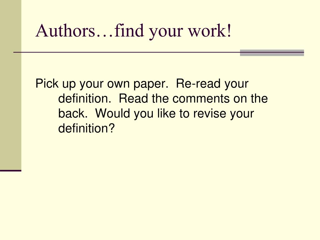Authors…find your work!