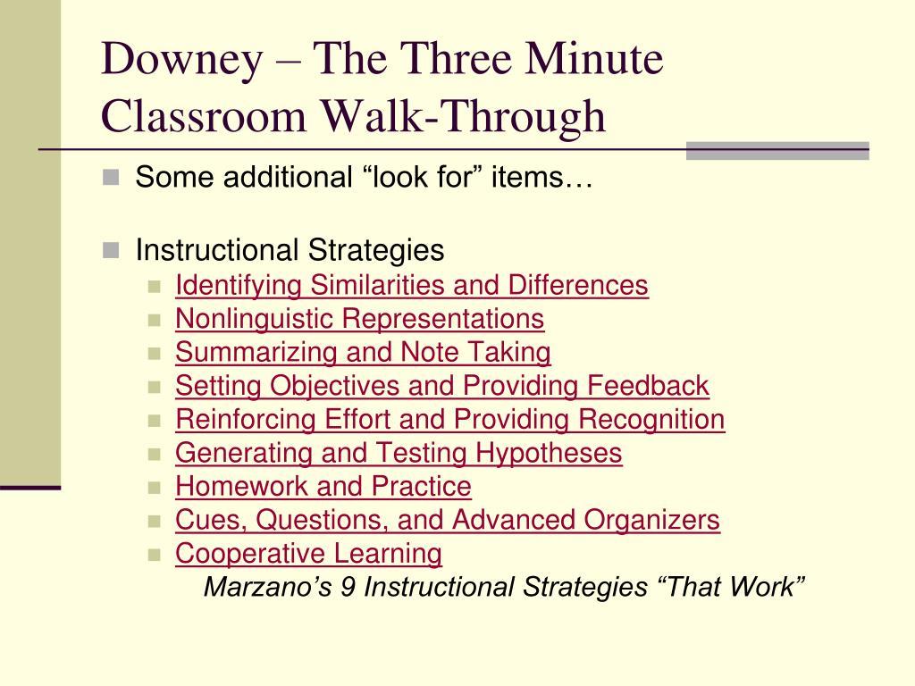 Downey – The Three Minute Classroom Walk-Through