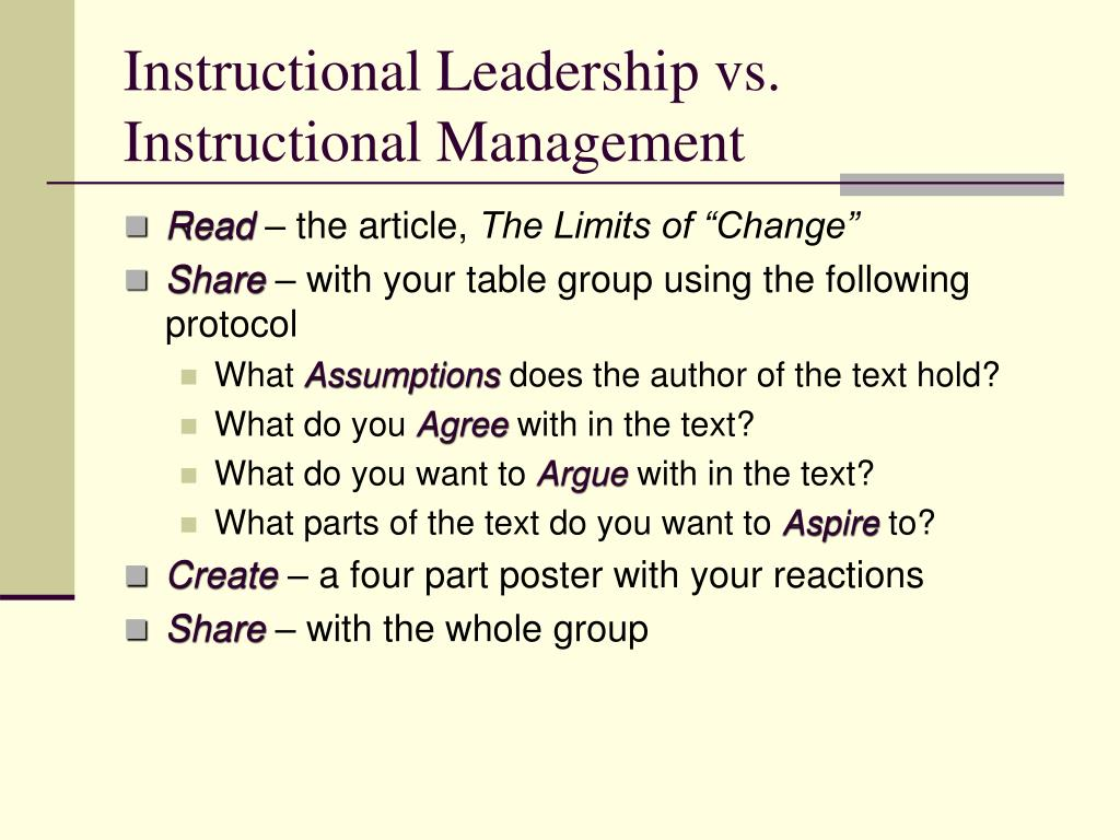 Instructional Leadership vs. Instructional Management