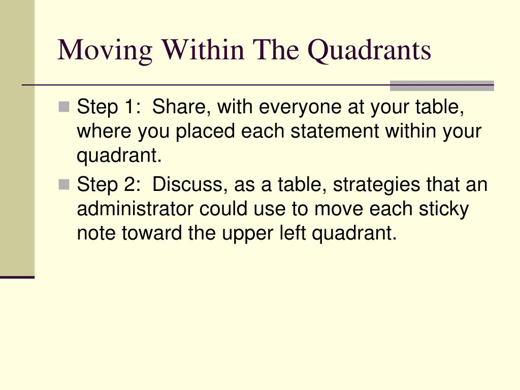 Moving Within The Quadrants