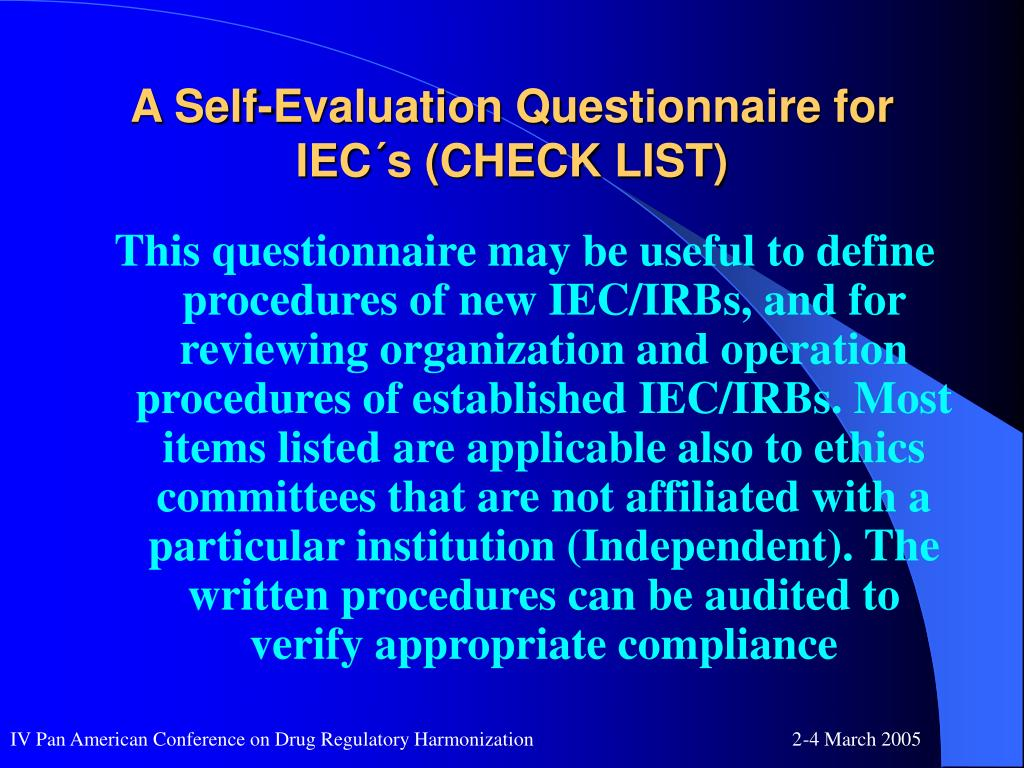 A Self-Evaluation Questionnaire for IEC´s (CHECK LIST)