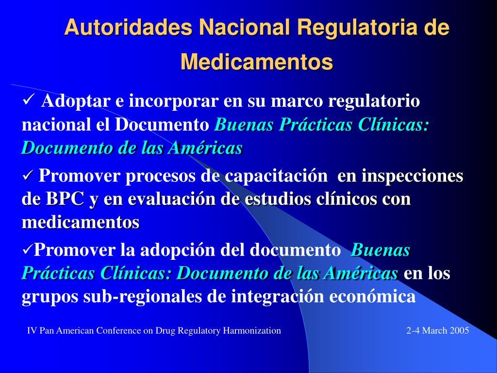 Autoridades Nacional Regulatoria de Medicamentos