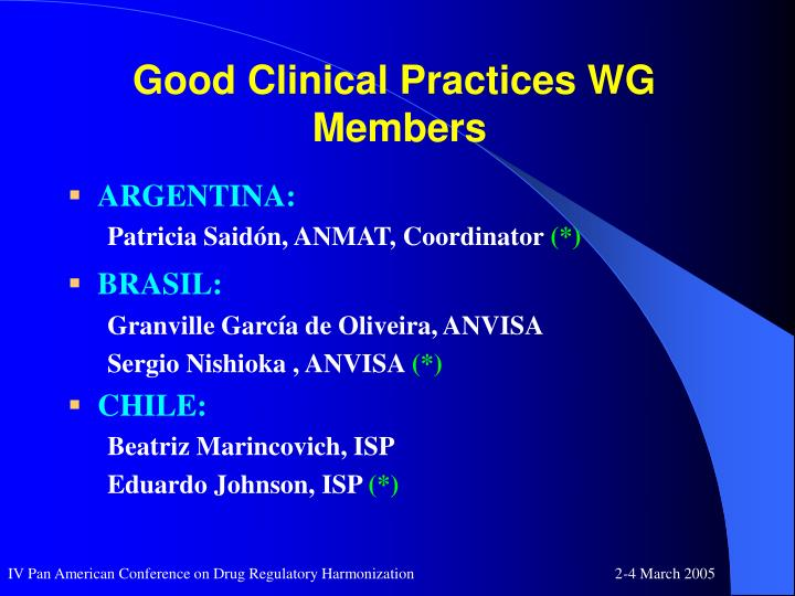 Good clinical practices wg members