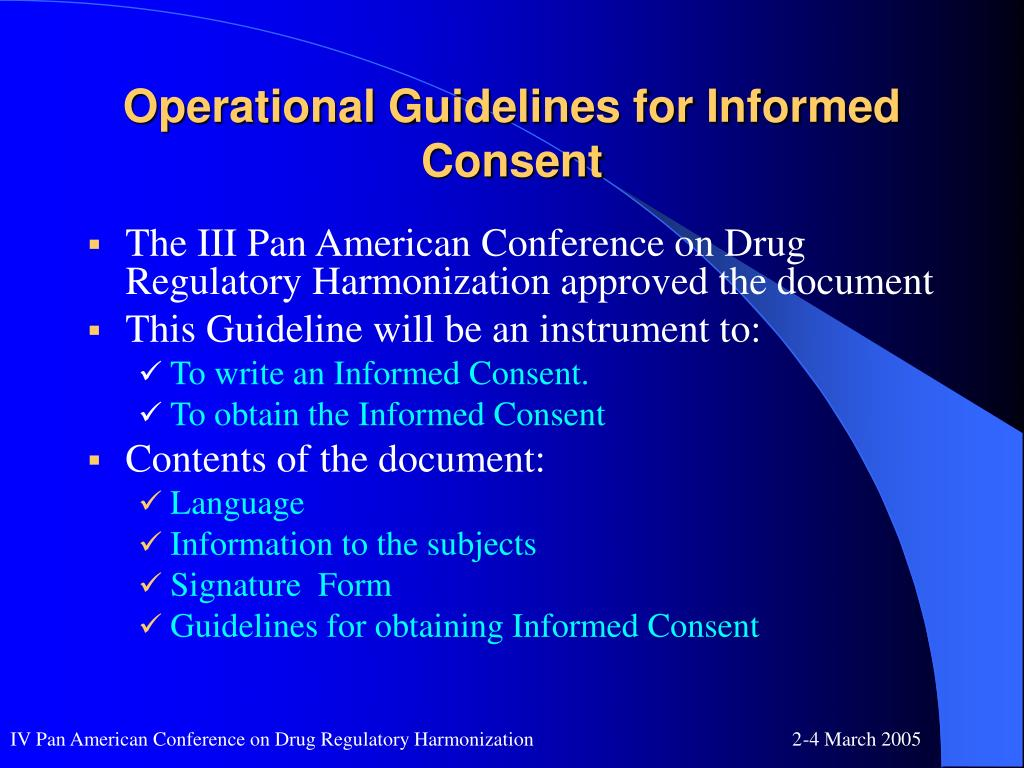 Operational Guidelines for Informed Consent